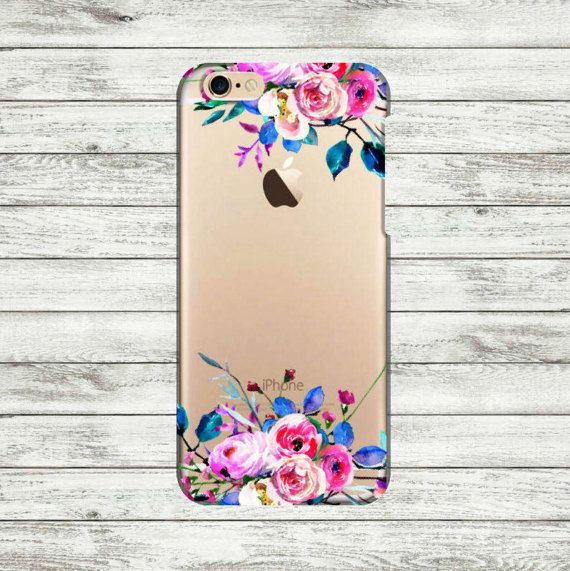 iPhone 6 clear case. iPhone 6s Plus floral transparent case.
