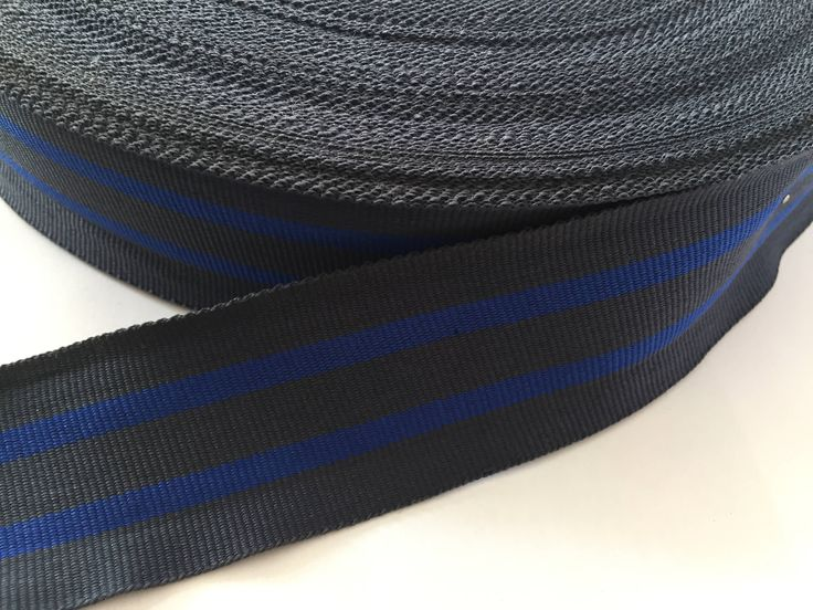 "1.6"" charcoal gray and blue striped ribbon,  grosgrain ribbon, striped grosgrain ribbon, polyester ribbon, belt ribbon by NoaElastics on Etsy"