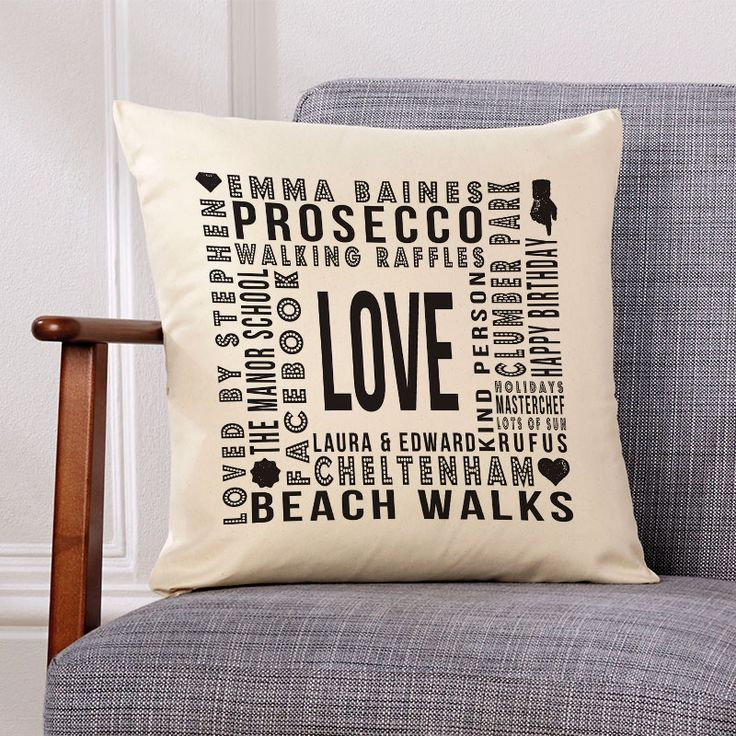 Beautiful 💕 Personalised Word Cushions. Easy to Create & Preview On Screen Before You Buy. Fast Free Delivery. A perfect gift  for any occasion. www.chatterboxwalls.co.uk  #wordart #typography #personalisedcushions #cushions #interiordesign