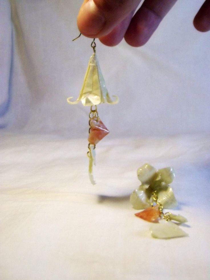 Orecchini giglio e cuori origami