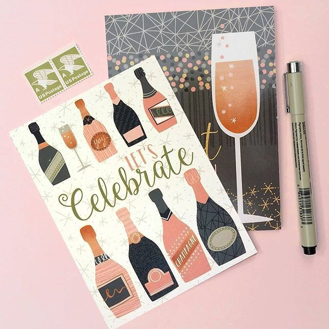 More #champagne for Friday afternoon! From a set of 6 cards I licensed, available on Amazon via Note Card Cafe