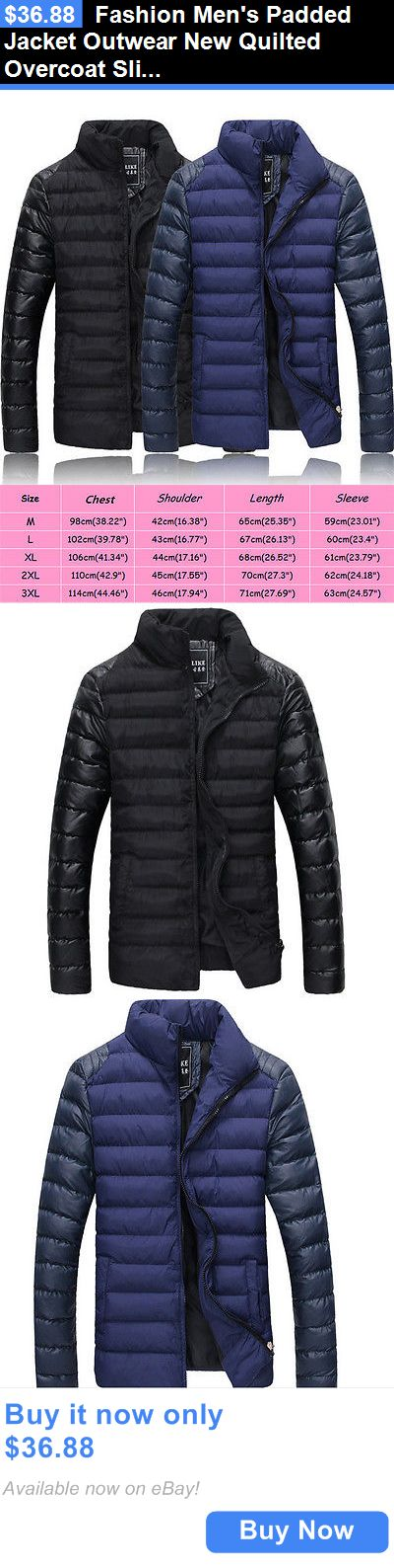 Men Coats And Jackets: Fashion Mens Padded Jacket Outwear New Quilted Overcoat Slim Bubble Warm Coat BUY IT NOW ONLY: $36.88