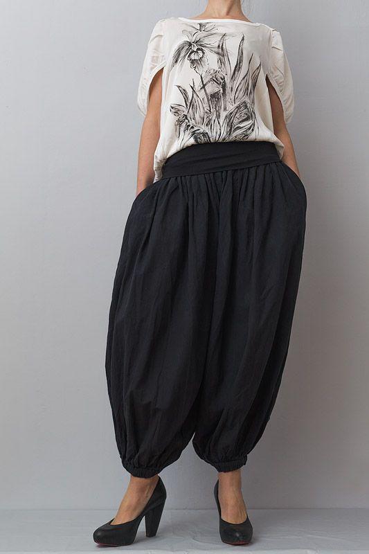 Pantaloni șalvari din bumbac negru și plin
