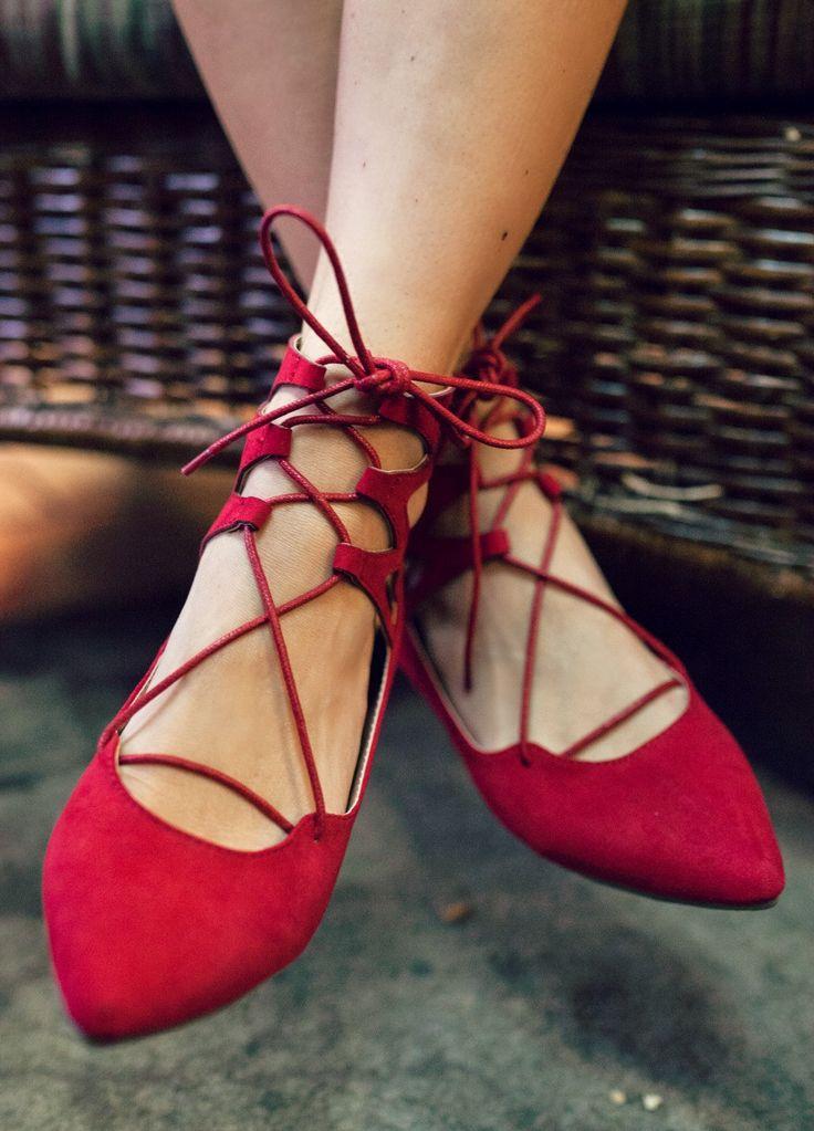 Bella Lace-Up Ballet Flat