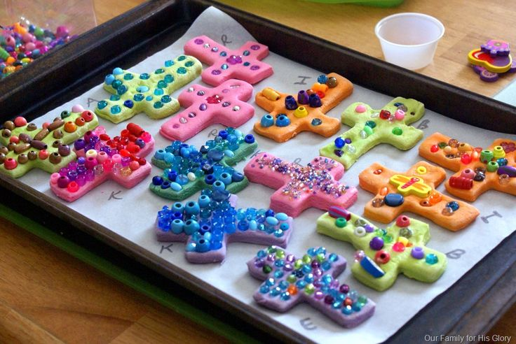 salt-dough crosses with beads