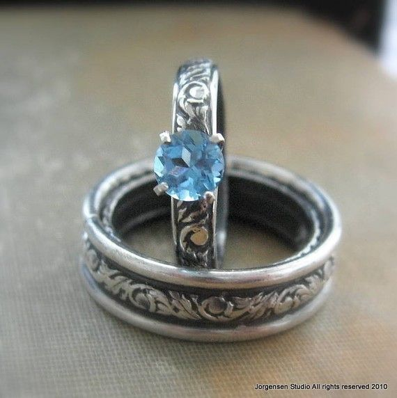 Engagement Ring or Promise Ring Blue Topaz by jorgensenstudio, $56.00 Shown with matching Men's or Unisex wedding band.