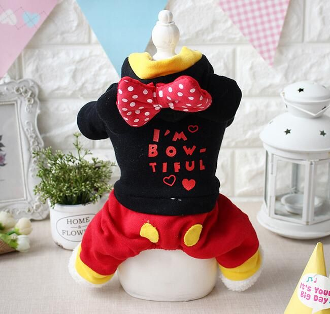 Pet dog cat cute cartoon bowknot rompers doggy autumn winter jumpsuits puppy tracksuits clothes dogs cats overcoat costume 1pcs