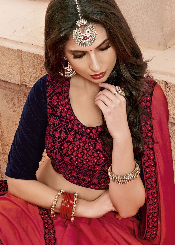 #Red plain #chiffon #saree enhanced by #embroidered patch border throughout.