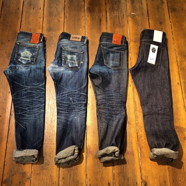 """ Edwin Denim Evolution - 2 years - 1,5 years - 8 months"" #jeans #selvedge #fade #blue #Indigo #menswear #fashion #rugged #mode #style #inspiration #details"