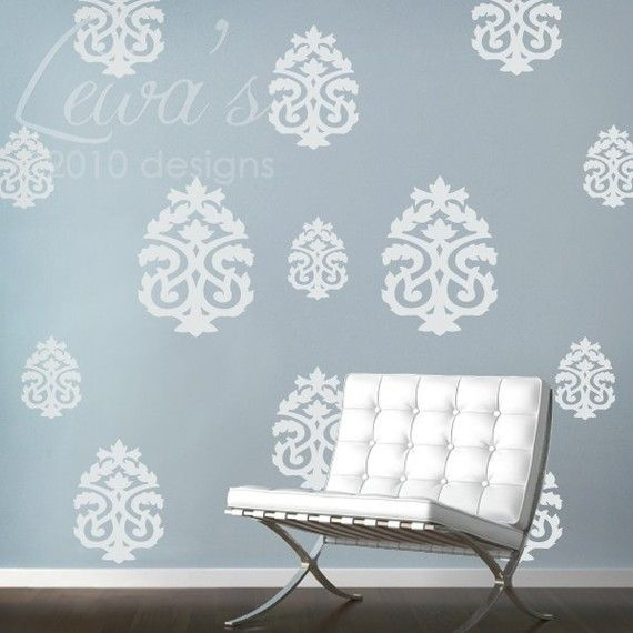 Set Of 13 Large Damask Wall Decals By Lewasdesigns On Etsy