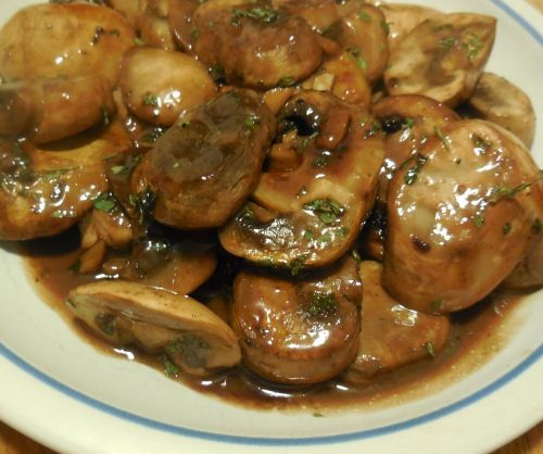 Mushrooms and Garlic in Red wine Teriyaki Sauce