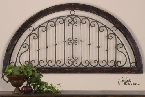 Extra Large IRON ARCH Wall Plaque Grille Overdoor By Home