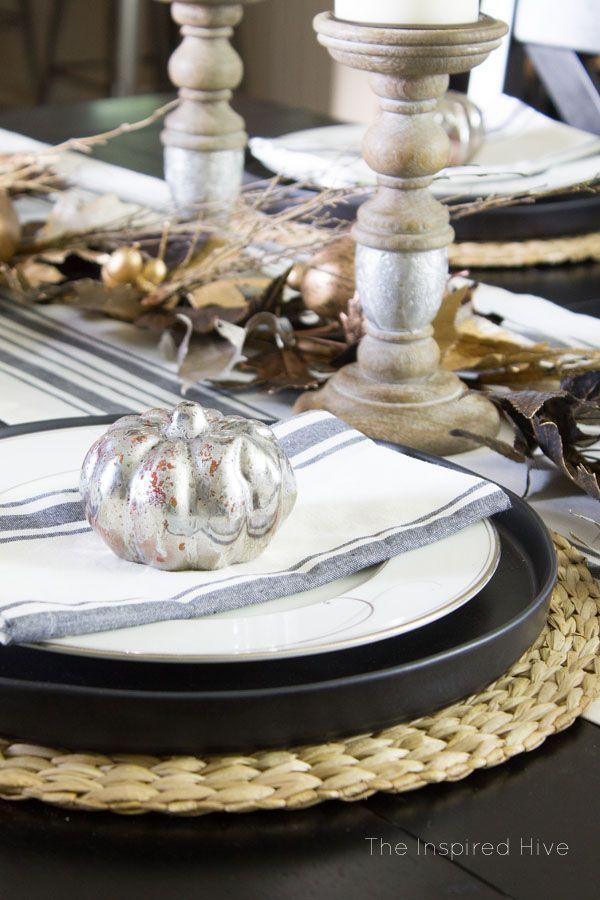Beautiful farmhouse glam tablescape idea for fall decor and entertaining. I love the grainsack runner and the mercury glass candleholders!  #ad #worldmarkettribe @worldmarket