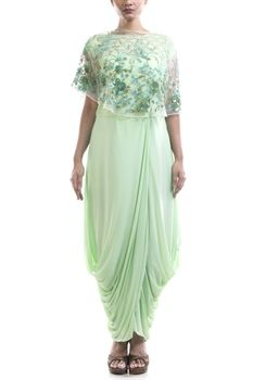 Show details for Pista green dhoti draped gown with cape.
