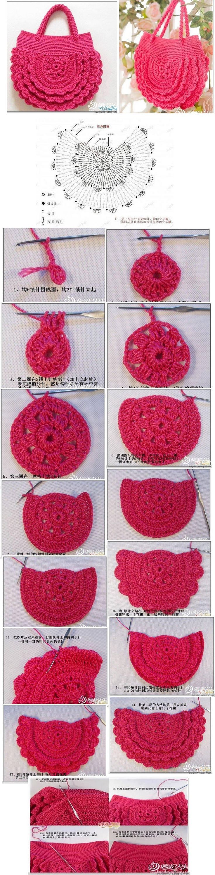 "Cartera - Crochet [   ""- Crochet bag with pattern"" ] #<br/> # #Crocheted #Purses,<br/> # #Crochet #Handbags,<br/> # #Knit #Crochet,<br/> # #Pin #Weaving,<br/> # #Crocheting,<br/> # #Ideas,<br/> # #Knitting,<br/> # #Stitches,<br/> # #Crochet #Portfolio<br/>"