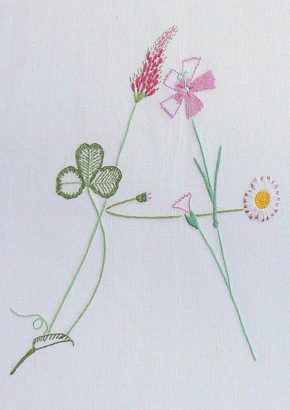 Field flowers alphabet - A | The French Needle | French Needlework Kits, Cross Stitch, Embroidery, Sophie Digard
