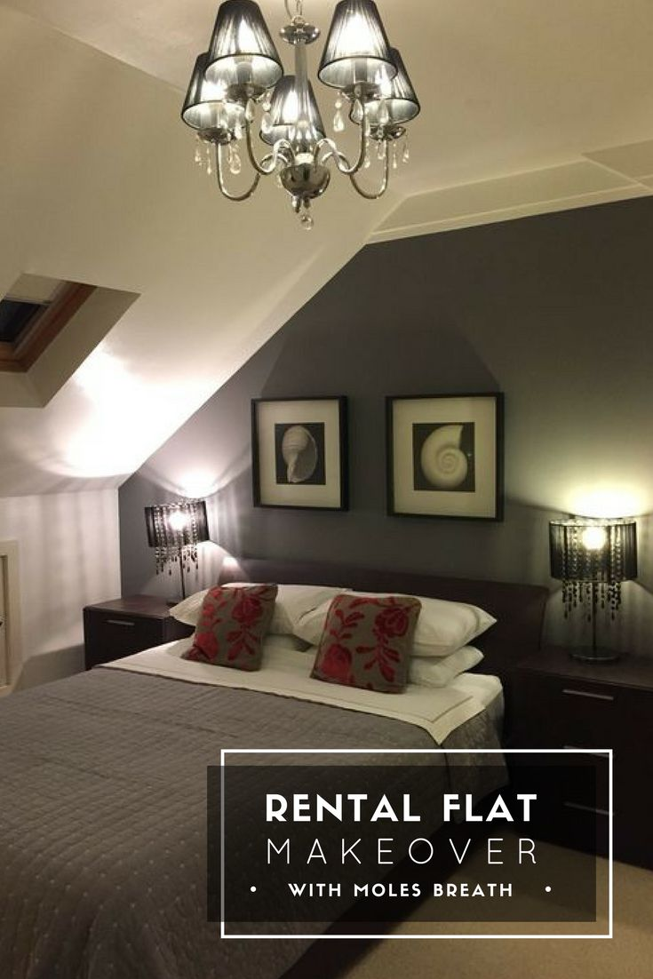 Have you ever wondered how to give a room with slopped ceiling or your rental flat a boutique hotel look? Here's how I achieved this look for a lot less than what you'd think in my rental flat - and it was rented in hours from going on the market! #sloppedceiling #rentalflat #boutiquehotel #molesbreath #farrowandball #myfandb