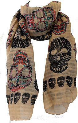 NEW Biker Chic Sugar Skull Large Beige Scarf Shawl from Fat Skeleton Seller