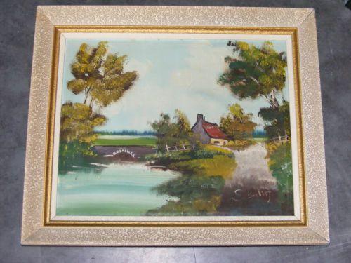 cadre en bois patine mouchetee huile sur toile signee cadr336 peintures tableaux chromos. Black Bedroom Furniture Sets. Home Design Ideas