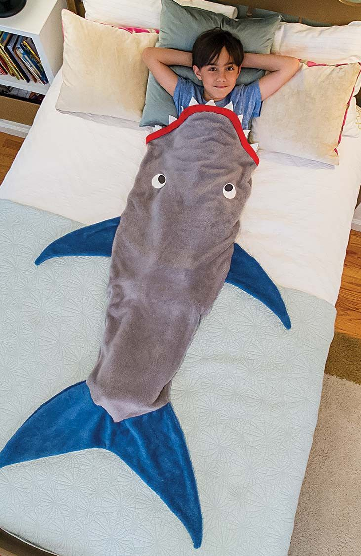 Shark Blanket by Blankie Tails - Gray and Deep Blue