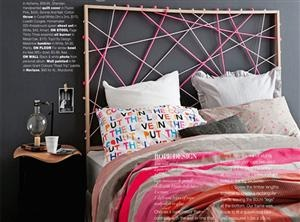 DIY: Knotted rope headboard. I would paint wood black and use black, dark grey and light grey rope.