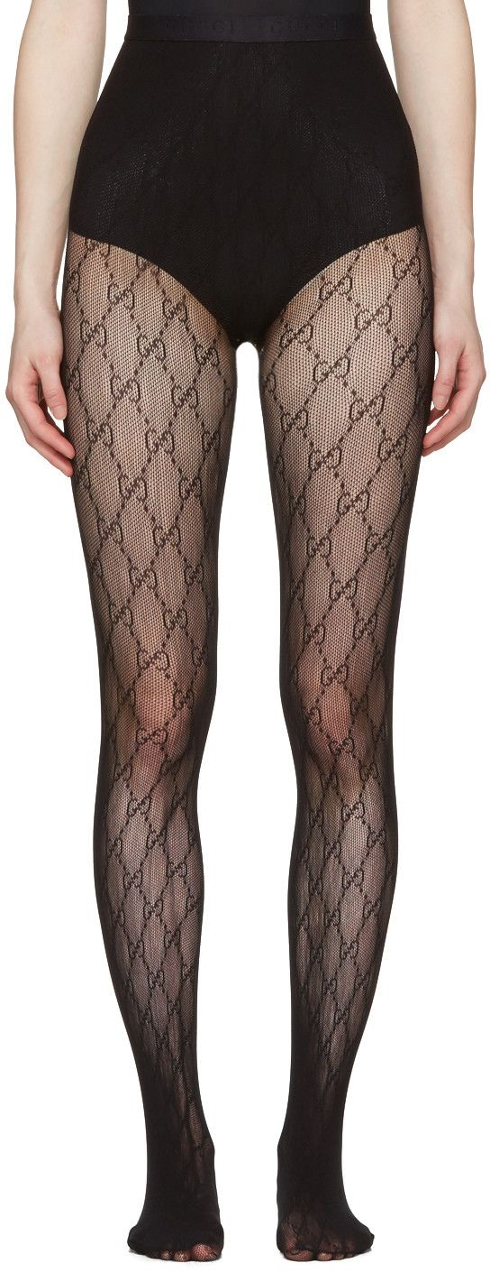 Semi-sheer open knit stockings in black. Logo graphics knit throughout. Jacquard logo at elasticized waistband. Tonal stitching.