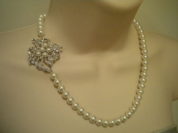 Rhinestone and Pearl Necklace Vintage Style Pearl by ohmyliferocks, $38.50. I WANT THIS.