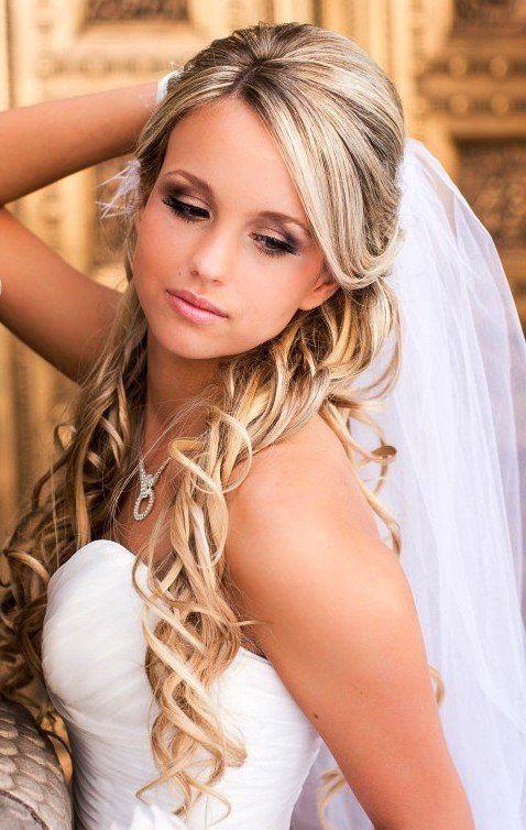2. Half-Up, Half-Down bridal Hairstyles with veil