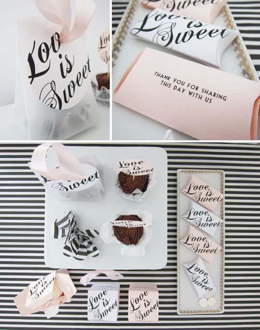 """Free printable """"Love is Sweet"""" tags and favor boxes. SO cute for Valentine's Day or Wedding favors."""