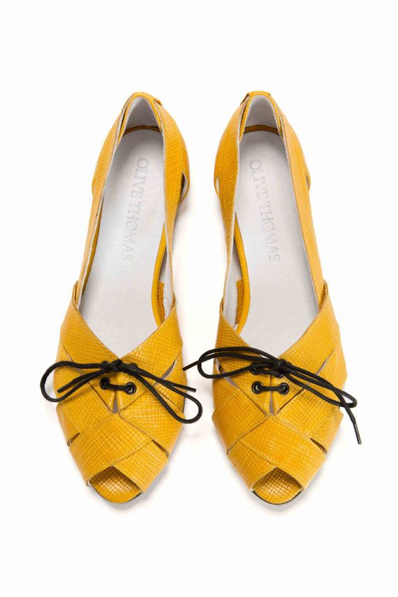 SALE 30% Discount Womens Yellow Lace-Up Peep Toe Flat Sandals // US sizes 4.5-12 on Etsy, $125.00