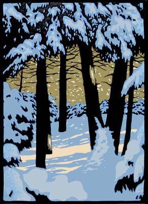 Golden Trees || Laura Wilder Linocut