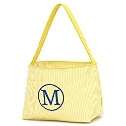 Personalized 9.5 Inch Lined Spring Easter Bucket Baskets in Mini Stripe Yellow