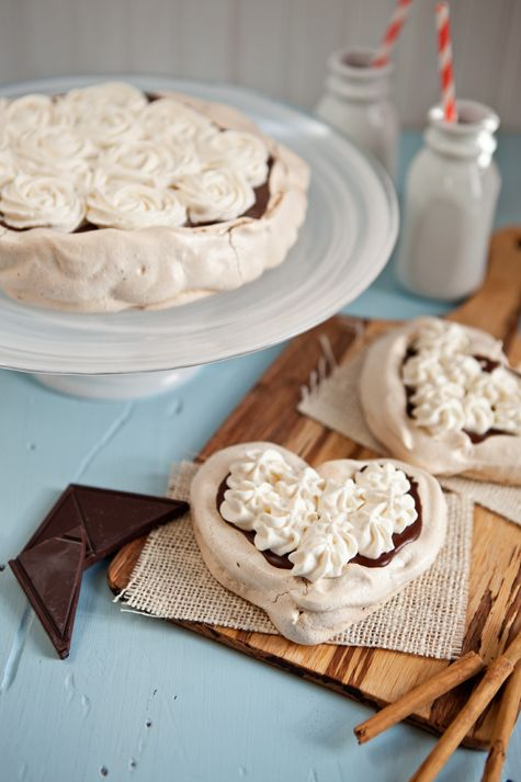 Dark Chocolate Mousse and Cinnamon Meringue Pavlova Tarts from @Shaina Olmanson | Food for My Family