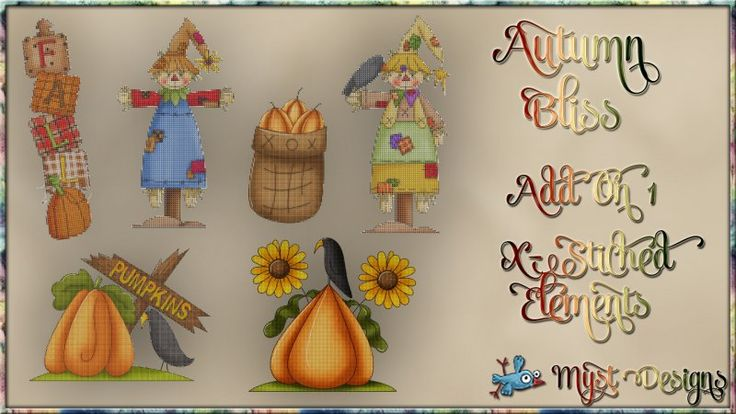 Autumn Bliss - AO1 - Cross-Stitched Elements