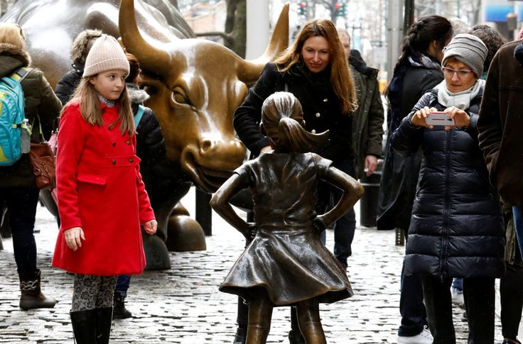 Statue of Courageous Girl Faces Wall Street Bull   As many American women prepare to draw attention to their role in the workplace, a Wall Street firm put up a statue of a girl in front of Lower Manhattan's bronze bull, fearlessly staring it down. (Related to previous Article: A Girl Stands Firm on Wall Street   Gail Collins op-ed)