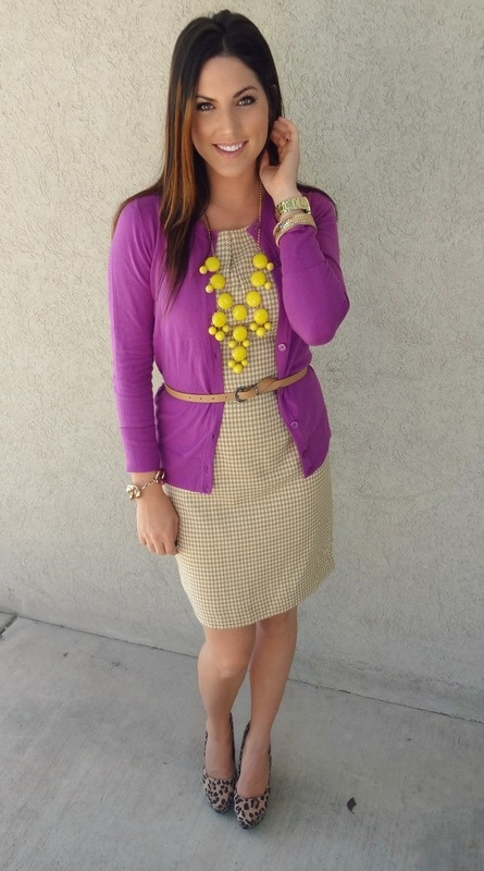 Layers, Pops of Color, Accessories, and a flattering shape. Perfect for your portrait session. Neutral houndstooth sheath, leopard heel, bright purple cardigan, and a bubble necklace