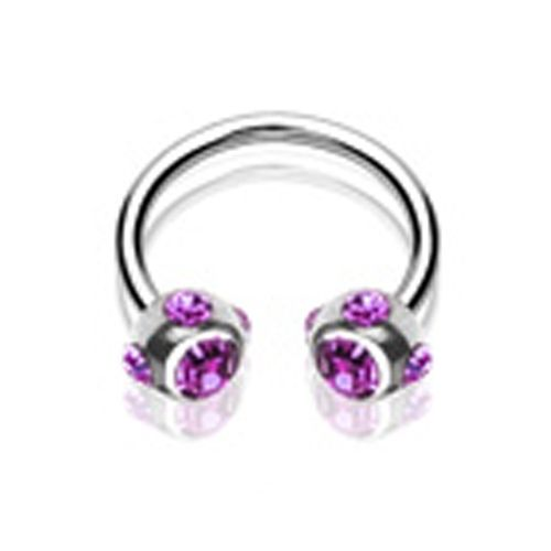 Piercing crystal ball ring paars
