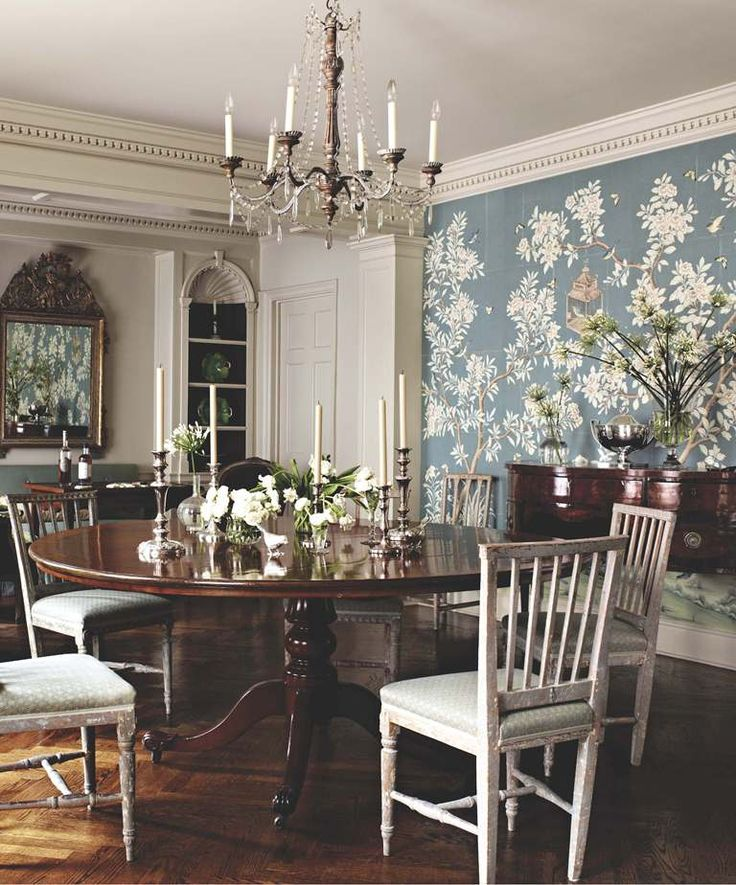 Love The Grey Blue De Gournay Wallpaper In This Beautiful Dining Room By  Suzanne Rheinstein.