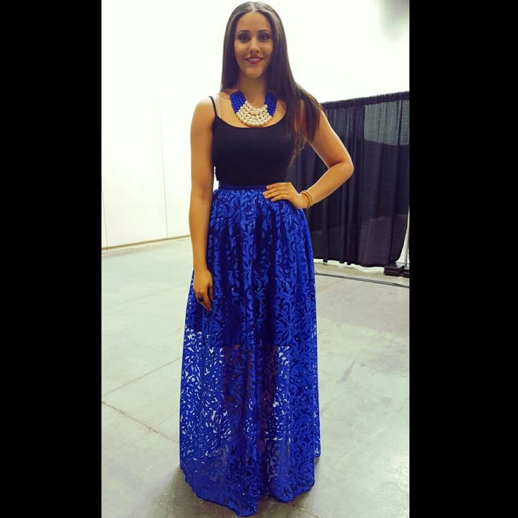 #StylenspirationSpotlight  Pro WMBA player Natalie A. wearing our Tulle Lace Maxi Skirt, beautifully adorned with a simple tank top and lovely necklace. #Stylenspiration