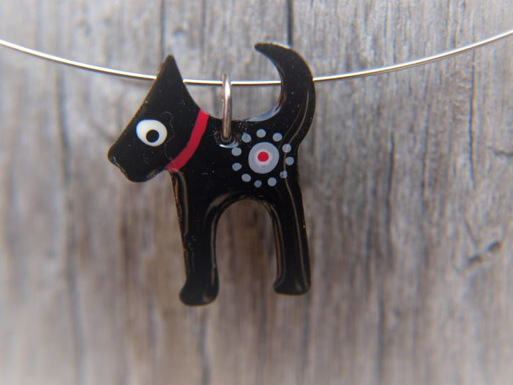 Cute Dog Pendant, Handpainted Enameled Stainless Steel Jewelry, Black Pendant Necklace, Whimsical Style by CinkyLinky on Etsy