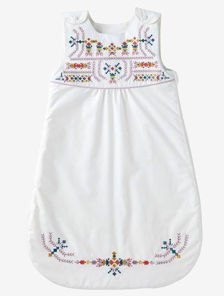 Baby Sommerschlafsack, mitwachsend, Ethno - WOLLWEIß/ERIKA - 1