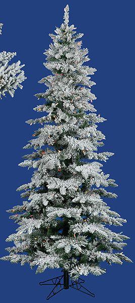 10' Flocked Layered Utica Fir Slim Artificial Christmas Tree with Multi Light