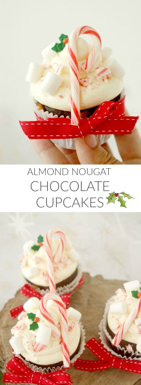 Almond nougat chocolate cupcakes in Patty's Cake. Delicious! Cupcakes de chocolate y turrón!! Deliciosos!!