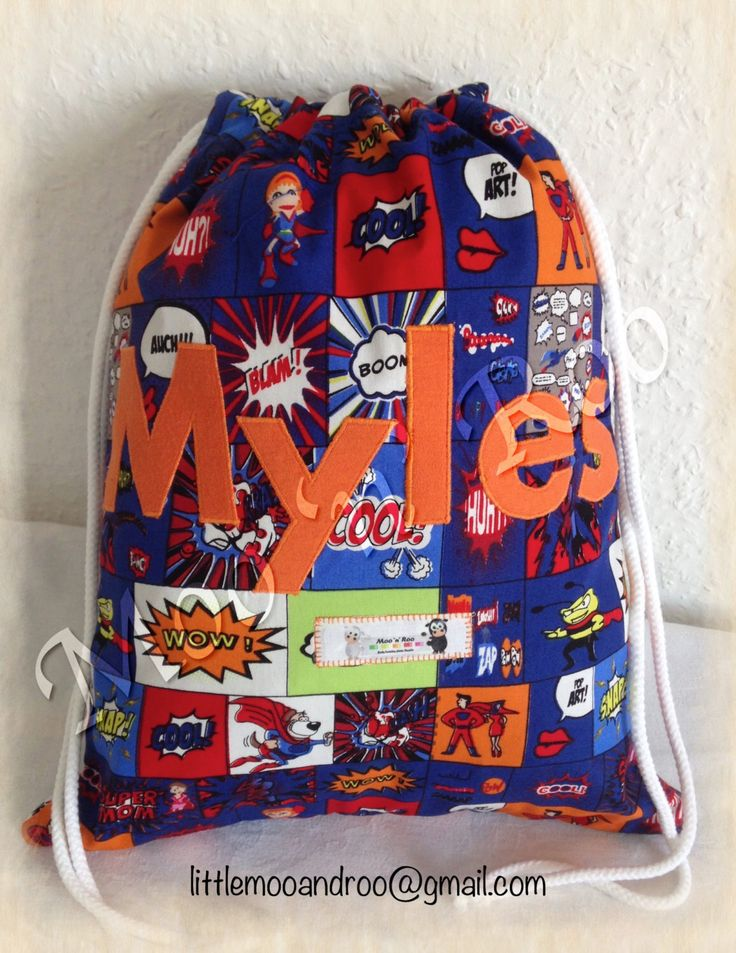 Children's Personalised Bag, Kid's PE Bag, Drawstring, Swim Bag, Gym Bag, Superhero Named School Bag, PE Kit, Nursery Bag, Water Resistant by littlemooandroo on Etsy https://www.etsy.com/uk/listing/463237523/childrens-personalised-bag-kids-pe-bag
