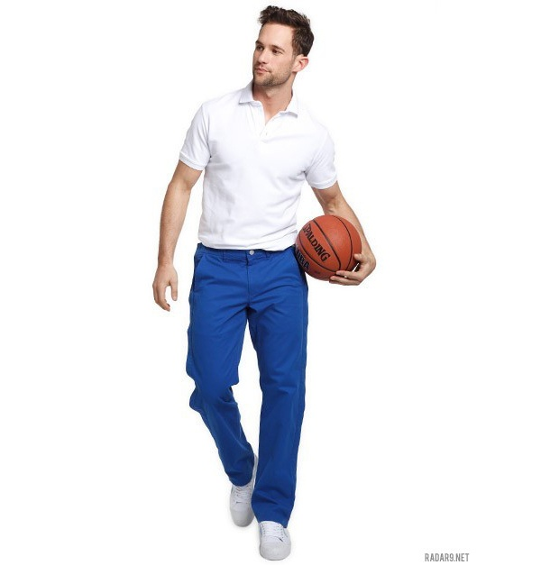 Bright blue classic fit single pleat washed chinos Pinch to zoom