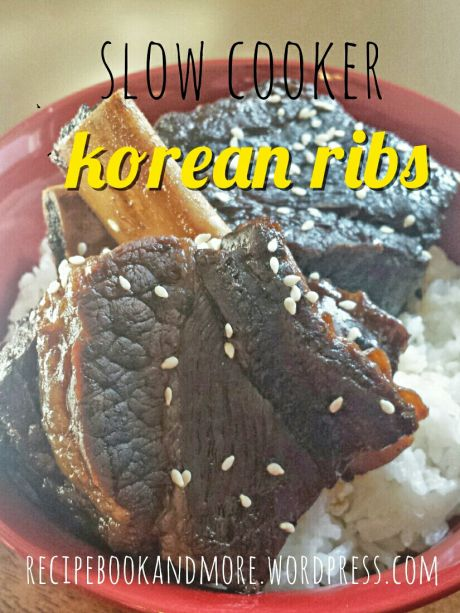 Slow Cooker Korean Ribs - so tender the meat falls of the bone. Place ribs in a slow cooker, add brown sugar, soy sauce, water, and whole peppers. Set it and forget it!