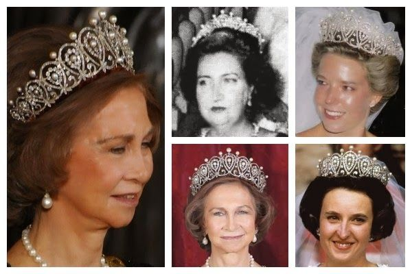 atiaraaday:  The Cartier Loop Tiara-a diamond and pearl tiara set in platinum, created by Cartier for Queen Maria Cristina.  It was later inherited by Princess Maria Mercedes, Countess of Barcelona, who wore it until her death, loaning it to her daughter Pilar and grandaughter, Simonetta, when it eventually came to Queen Sofia.  Photos:   Queen Sofia of Spain; the Countess of Barcelona; Doña Simoneta Gómez-Acebo y de Borbón; Infanta Pilar of Spain, Duchess of Badajoz; Queen Sofia of Spain