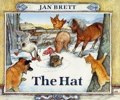 *picture story book * The Hat by Jan Brett.this book is about a hedgehog who gets a stocking stuck oon his head. all the other animals laugh at him but he makes valid points as to why hes wearing it. then the little girl comes and takes it off and he sees all the animals wearing clothes on their heads.In the borders of this book there are illustrations of what is going to happen around the borders so this book can be used to help with inference and predictions
