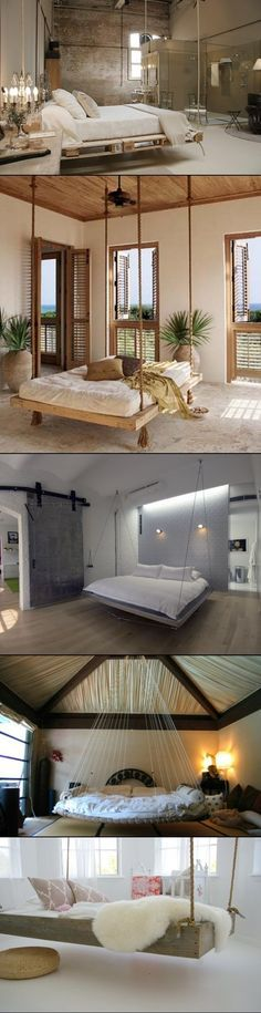 DIY hanging bedroom beds. I really want one of these, But you would have to have a large open bedroom.