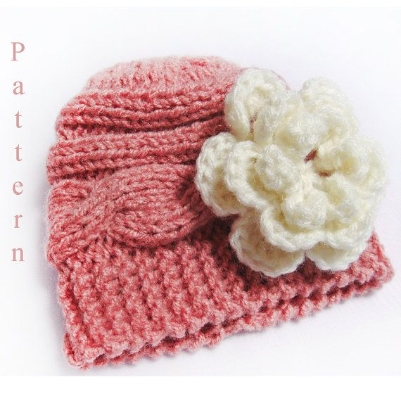Knitting Pattern Baby Hat Knit Newborn Cable Hat by lanadearg, $5.00